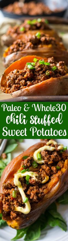 Easy, healthy, Paleo and Whole30 friendly Chili Stuffed Sweet Potatoes! These make a GREAT weeknight dinner - bake the sweet potatoes ahead of time – the chili is done in 20 minutes!