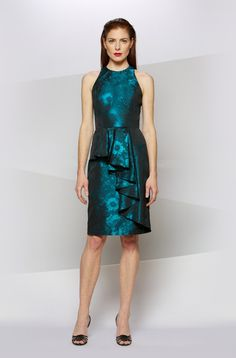 RUFFLE FRONT PRINT COCKTAIL in TEAL - Carmen Marc Valvo