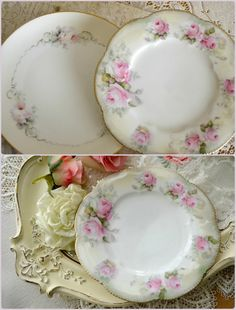 Gorgeous Pair of Antique Porcelain Plates with by Jenneliserose