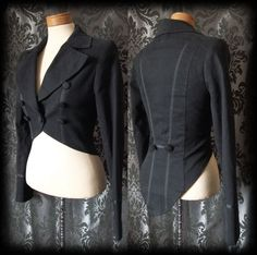 Gothic Black Fitted Tailored RINGMASTER Riding Jacket Tail Coat 6 8 Victorian - £36.00