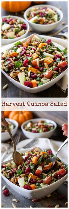 Low Carb Recipes To The Prism Weight Reduction Program Harvest Quinoa Salad This Gluten-Free, Vegan Quinoa Salad Is Full Of Fall Flavor And Perfect For Thanksgiving Quinoa Salad Recipes, Healthy Recipes, Whole Food Recipes, Cooking Recipes, Quinoa Recipe, Avocado Recipes, Fall Vegetarian Recipes, Cooking Time, Pasta Recipes