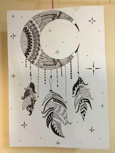 Doodle Art Drawing, Zentangle Drawings, Mandala Drawing, Art Drawings Sketches, Ink Illustrations, Zentangles, Dream Catcher Painting, Dream Catcher Drawing, Stippling Art
