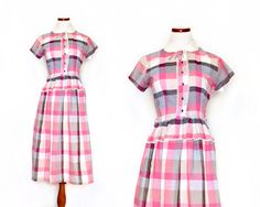 40s Day Dress / XS Plaid Dress / Print Dress / by MinxouriVintage, $78.00