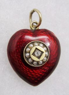 9k Gold & Guilloche Enamel Antique Victorian Locket Pendant Charm..