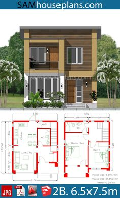 House Plan with 2 Bedrooms - Sam House Plans - Dream House 2 Storey House Design, Duplex House Plans, Bungalow House Design, House Front Design, Bedroom House Plans, Small House Design, Small House Plans, Small Modern House Plans, Beautiful House Plans