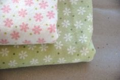 FLANNEL with flowers available in green or white - 2 sizes