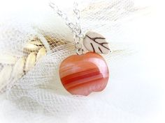 Apple Necklace Stone Apple Necklace Carved by MalinaCapricciosa