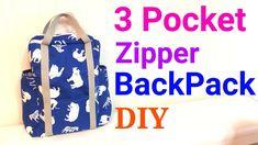 【DIY】3ポケット*リュックサックの作り方* 3 Pocket Lined Zipper Backpack Tutorial*