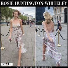 Rosie Huntington-Whiteley in floral print slip dress