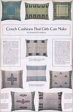 1910 Arts & Crafts Style Couch Cushions  Source: Ladies Home Journal