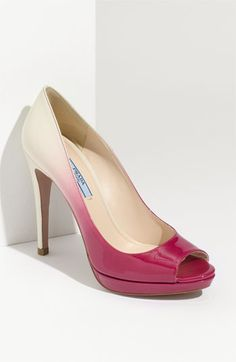 prada white to pink ombre fade leather peep toe pump ( also comes in nude to black)
