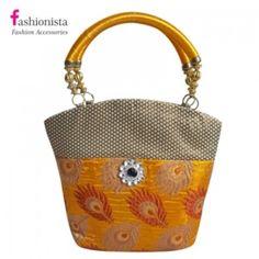 Fashionista trendy stylish golden yellow hand bag(big)(NM209)
