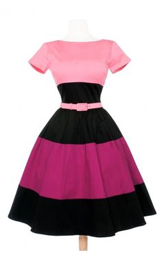 50's Style Day Dress with Gathered Skirt and Pockets in Color Blocked Black and Pink | Pinup Girl Clothing