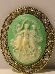 Vintage 1930s Cameo, Green and White | eBay