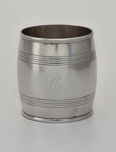 WHISKEY BARREL-SHAPED BEAKER -    Asa Blanchard (d.1838) -  Lexington, Kentucky -  1808-1838 -  Silver