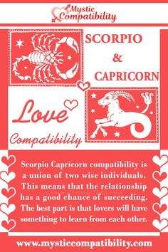Scorpio Capricorn compatibility is a union of two wise individuals. This means that the relationship has a good chance of succeeding. The best part is that lovers will have something to learn from each other. #Scorpio #Capricorn #Relationship #Compatibility #Scorpio_Capricorn #Relationship_Compatibility #ScorpioCapricorn #RelationshipCompatibility #Zodiac_Signs Aries Capricorn Compatibility, Scorpio And Capricorn, Signs Compatibility, Taurus Relationships, Relationship Compatibility, Zodiac Star Signs, Lovers, Comfort Zone, Perception