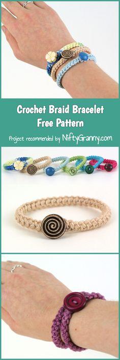Ideas For Crochet Bracelet Patterns Free Crochet Gifts, Crochet Yarn, Crochet Flowers, Crochet Stitches, Crochet Patterns, Crochet Braid, Easy Crochet, Free Crochet, Diy Bracelets Easy