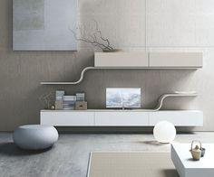 un meuble tv suspendu et blanc de design unique et élégant