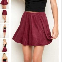 Suede burgundy brandy Melville skirt Cute flowy brandy Melville skirt perfect condition only worn once one size I would say it fit xs, s, and medium Brandy Melville Skirts