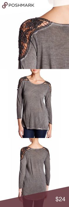 """Lace Shoulder Top 📌1hr SALE scoop neck, 3/4 length sleeves, vintage washed effect, approx. 26"""" at the shortest and 28"""" at the longest, fits true to size, machine washable, rayon/cotton blend  ⁉️I'm happy to answer all your questions, please ask them before you buy so I can make your purchase in my closet absolutely perfect. Tops"""