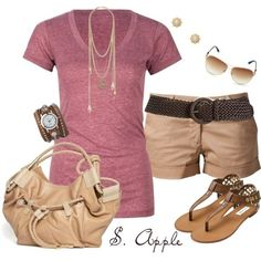 I found 'Simple Pink T Shirt & Khaki Shorts Summer Outfit' on Wish, check it out!