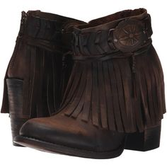 Freebird Chief (Brown) Women's Zip Boots (200 CAD) ❤ liked on Polyvore featuring shoes, boots, ankle booties, ankle boots, brown, western ankle boots, fringe cowboy boots, high heel ankle boots, brown cowgirl boots and high heel booties
