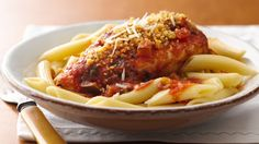 This easy updated take on Chicken Parmesan is perfect for a weeknight dinner. When you're ready to eat, just cook the pasta, and brown the bread crumbs. Serve with a green salad for a complete meal.