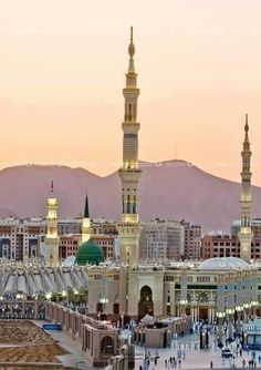 The Prophet's Mosque (Masjid-e-Nabawi), Medina, Saudi Arabia. It is the second holiest site in Islam (the first being the Masjid al-Haram in Mecca). Masjid Al Nabawi, Masjid Haram, Beautiful Mosques, Most Beautiful Cities, Wonderful Places, Islamic Images, Islamic Pictures, Medina Mosque, Islamic Architecture