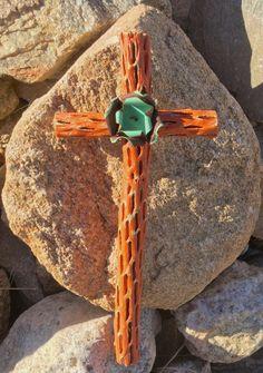 Cholla Wood Cross - Salvaged Metal Flower - Sacred works of the High Desert - Original Art / Cathy DeLeRee