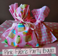Pink Fabric Party Bags #party #kids #pink