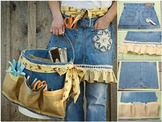 Recycle your old jeans to create a beautiful and useful garden apron and tool caddy. That's a wonderful green. The post The Perfect DIY Garden Apron and Tool Caddy from Old Jeans appeared first on The Perfect DIY. Jean Crafts, Denim Crafts, Artisanats Denim, Denim Purse, Jean Apron, Gardening Apron, Gardening Tools, Organic Gardening, Cute Aprons