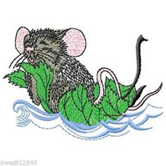 CONTENTED LITTLE BOATING MOUSE - CUTE - 2 EMBROIDERED HAND TOWELS by Susan