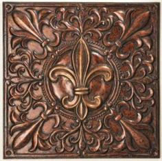 CBK Styles 43667 Wall Decor Stamped Corners Fleur De Lis Design, 3D Effect On Center, Antique Gold And Copper Finish, Iron Primary Material, Dimensions 36 X 36 Square, Weight 9.47, UPC 054798436671 (CBK43667 CBK-43667)