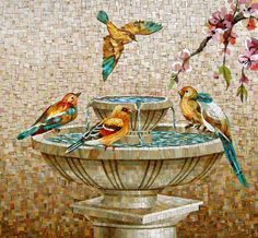 Mosaic bird fountain - Beautiful and Different Thoughts and Ideas Mosaic Garden Art, Mosaic Tile Art, Mosaic Artwork, Pebble Mosaic, Mosaic Crafts, Mosaic Projects, Mosaic Glass, Mosaics, Glass Art