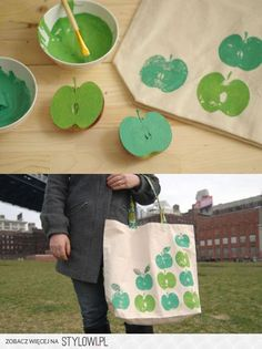 An original handbag in minutes: a cloth bag, apples, tree leaves or the item we want and painting.