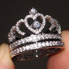 White Gold Over Women's Diamond Princess Queen Crown Wedding Ring Bridal Set Bridal Ring Sets, Bridal Rings, Bridal Jewelry, Bridal Accessories, Crown Wedding Ring, Diamond Wedding Rings, Gold Wedding, Wedding Bands, Engagement Rings Princess