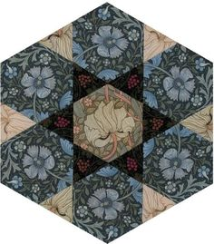 Morris Hexagon Hammersmith Terrace by Becky Brown Hammersmith Terrace Just two templates and only 19 pieces. Quilting Templates, Quilting Projects, Quilting Designs, Quilt Patterns, Block Patterns, William Morris Patterns, Millefiori Quilts, Quilt Material, Fall Quilts