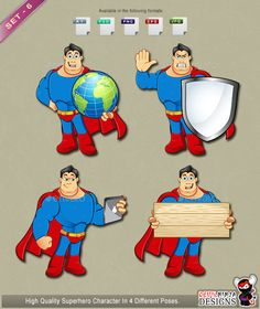 Superhero Mascot - Set 6, Here is Set - 6 of my Superhero Mascot. My high quality Superhero Mascot comes in 4 different poses, so can be used for many different things like your adding a great theme to your website, blog, business or anything you can think of. The Superhero Mascot is available in AI, EPS and PSD formats. I recommend any changes to
