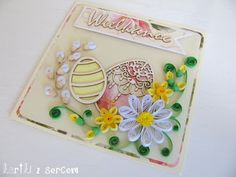 quilling idea, inspiration, quilling card, kartka, cardmaking, flowers, easter, eastercard, easterinspiration, spring, sunny, green, ping, cream, white, yellow