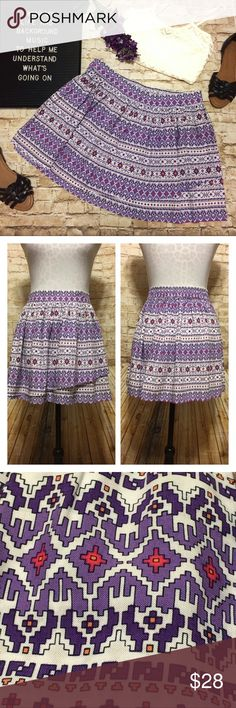 """⚡️Flash Sale Arizona Tribal Print Skirt Super cute pink, white and purple tribal/southwestern print skirt. Easy pull-on styling with a flat front waist, and elastic back of waist. Flowy layers of the same print add a little fullness to the skirt. Looks adorable with a tank top and sandals. Flawless condition. 100% rayon, although it feels like cotton. True to size large. ⚡️Flash Sale Price Firm  Measurements lying flat: Waist unstretched: 16.5"""" Length: 15.5"""" Arizona Jean Company Skirts…"""