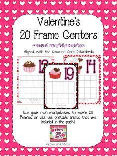 Valentine's Day 20 Frames for Math