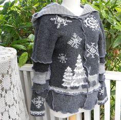 Recycled Sweater Forest Scene Recycled Clothing Hooded Pixie Elf Wool Deer Grey Gray Ready to Ship