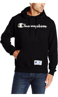 Champion Men's Retro Graphic Pullover Hoodie, Black, X-Large Best Price