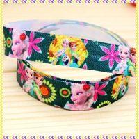 5/8'' Free shipping Fold Over Elastic FOE cartoon printed headband headwear hair band diy decoration wholesale OEM B941