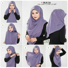 How To Wear A Square Ruffle Hijab - Hijab Fashion Inspiration Square Hijab Tutorial, Simple Hijab Tutorial, Hijab Style Tutorial, Stylish Hijab, Hijab Chic, Easy Hijab Style, Girl Hijab, Hijab Outfit, Hijab Dress
