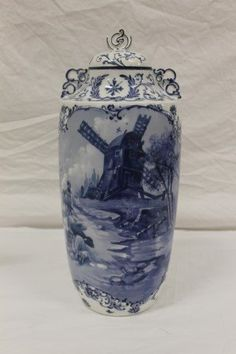 Pairpoint Limoges hand painted covered urn with Delft farm scene   Sale Price US$ 150