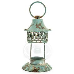 Antique Blue Metal Sphere Mini Candle Lantern