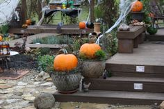 Decks decorated for Halloween party