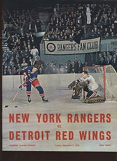 5742e8fa6 November 7 1965 NHL Hockey Program Detroit Red Wings at New York Rangers  EXMT