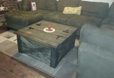 Barnwood coffee table with storage